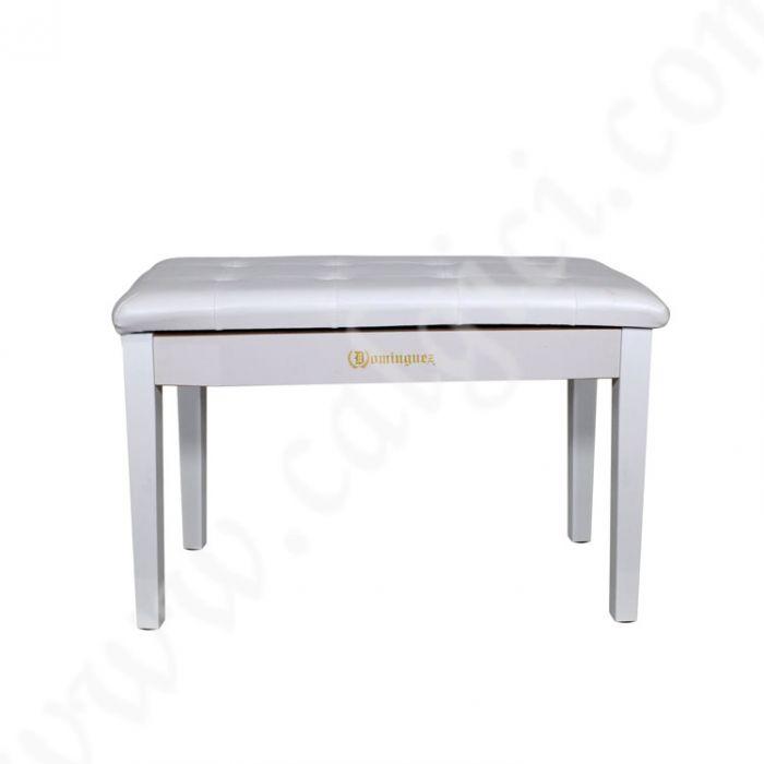 Piyano Aksesuar Koltuk Tabure Çift Kişilik Dominguez Sandık Bölmeli Beyaz DPB115-WH