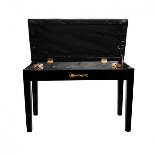 Piyano Aksesuar Koltuk Tabure Çift Kişilik Dominguez Sandık Bölmeli Siyah DPB115-BK - Thumbnail