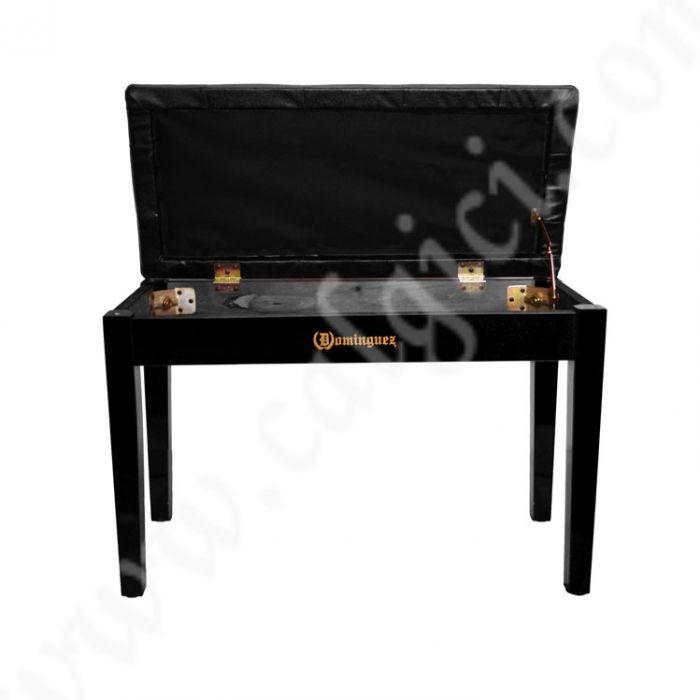 Piyano Aksesuar Koltuk Tabure Çift Kişilik Dominguez Sandık Bölmeli Siyah DPB115-BK