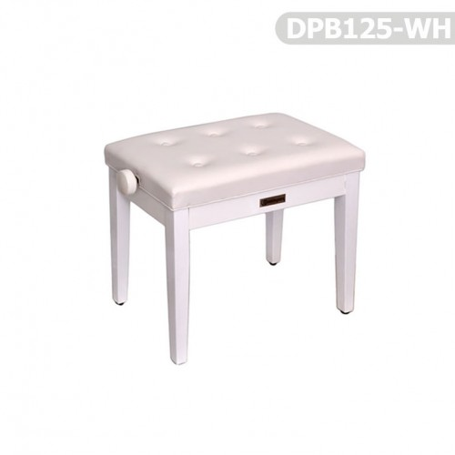 Piyano Aksesuar Koltuk Tabure Dominguez Ayarlı Beyaz DPB125-WH - Thumbnail